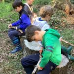 4 schoolboys are carving wood to be used as spikes