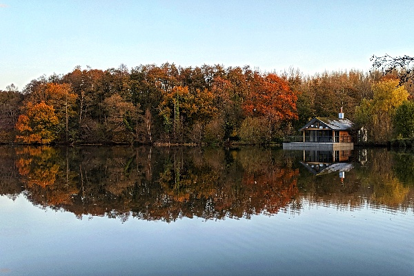 A cabin on a large lake with several trees in the back with red and green autumnal colours on the leaves